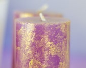 Warm Purple and Gold, Jasmine Scented Pillar Candle, Home Decor, Housewarming Gift, Bridesmaid Present, Mother 39 s Day Present