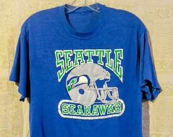 6147bb31d 80 s SEATTLE SEAHAWKS t-shirt Lg Xl 50 50 Blue NFL Distressed worn Grunge