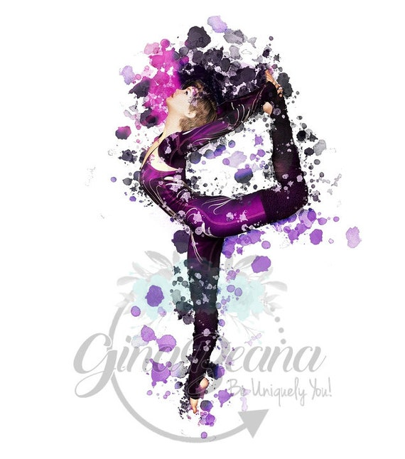 Purple Water Color Dancer Clipart Png Balet Dancer Gymnastic Etsy
