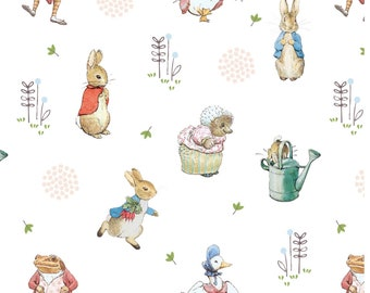 100/% Cotton Fabric The World of Beatrix Potter Peter Rabbit Flopsy Mopsy