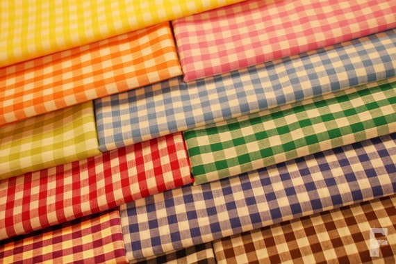 "100/% Cotton Fabric Metre Fat Quarters Yellow 1//8/"" Gingham Check Curtains Craft"