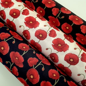 Cotton Fabric Flower Pattern by the yards 44 Cozy Healing Story Poppy Fruit