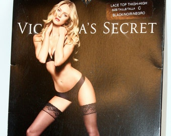f5619c05e Vintage Victoria Secret Lace Top Thigh High Black Noir Stockings Size C  Talls Unopened
