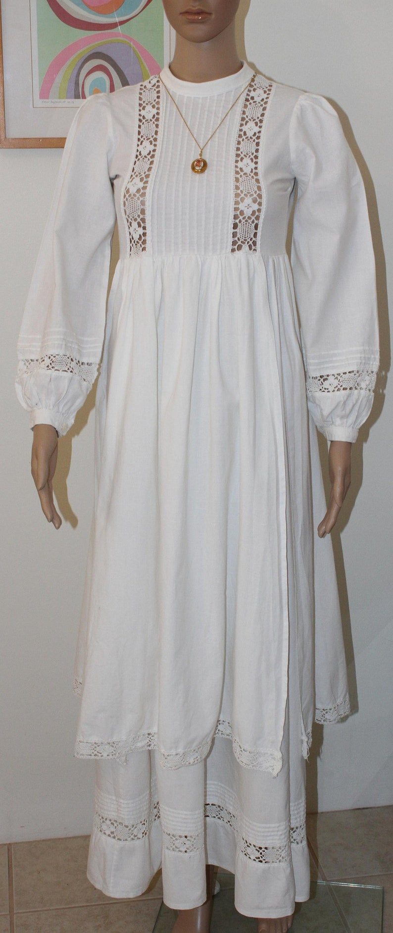 Vintage Laura Ashley Victorian Crochet Trim Pintucked Wedding Gown Bride Dress