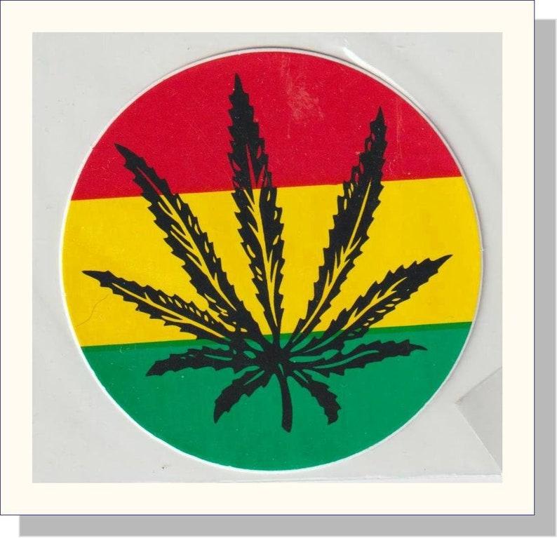 Vintage Retro 80/'s Rastafarian Colours Medicinal Leaf Sticker Sealed Collectible
