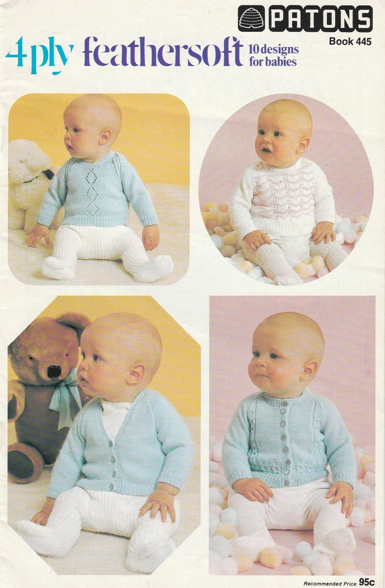 0e3ac2171e32 Vintage Patons 4 Ply Feathersoft Designs for Babies Knitting