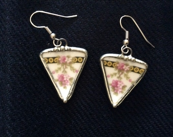 Broken China Jewelry - Earrings handmade from Vintage China