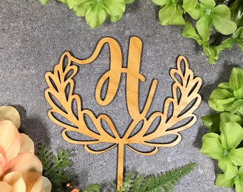"Personalized Initial, Letter in Half Wreath 6"" Cake Topper"