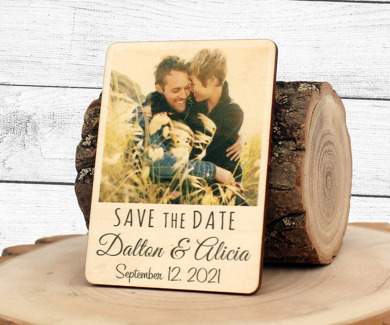 Wedding Photo Save the Date Polaroid Style Couple Photo Wedding Save the Date Wood Save the Date Magnet Photo Save the Date Magnet