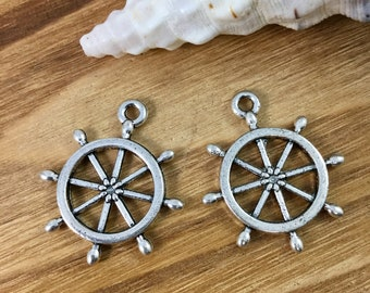 BC1240 8 Ship/'s Wheel Charms Antique Bronze Tone 2 Sided Helm Charm