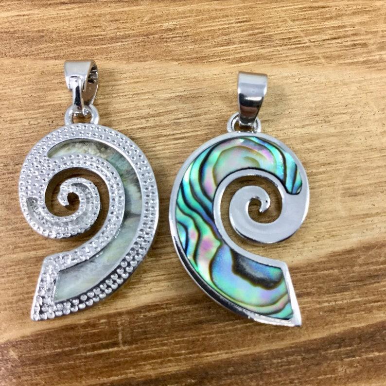Abalone Ocean Wave Charm Abalone Shell Pendant