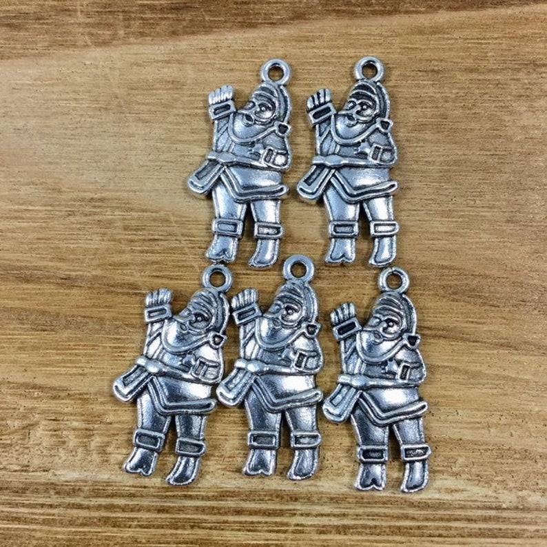 Santa Charm Qty 5 Santa Claus Pendant Silver Santa Claus Charm