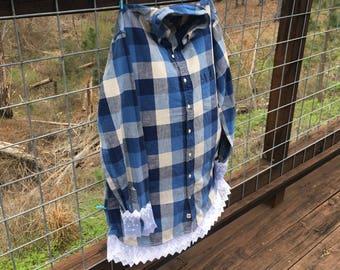 Plaid & Lace Shirt, Plaid Shirt, Flannel Shirt, Embroidered Shirt, Personalized Shirt, Bride Shirt, Gameday Shirt, Sorority Shirt