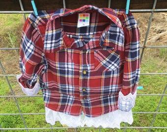 Plaid & Lace Shirt, Plaid Shirt, Personalized Shirt, Embroidered Shirt, Little Girls Shirt, Flannel Shirt, Flower Girl Shirt