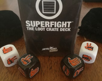 Skybound Superfight Loot Crate Exclusive 100-Card Deck with Dice Set