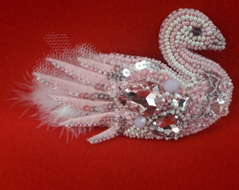 Brooch swan, swan, decoration, Swarovski crystals