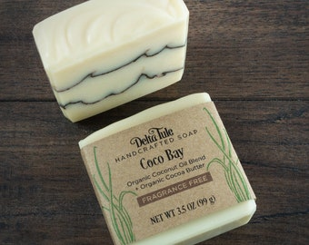 Coco Bay // Unscented Soap with Cocoa Butter, Palm Free, Detergent Free, Synthetic Free, Natural Soap