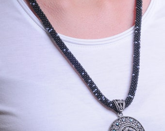 Black Beaded Lariat Necklace