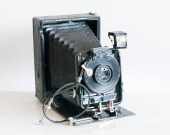 Old camera Leather Case, Vintage camera Antique camera Black folding camera Collectible camera Vintage antique camera Antique Photo Camera