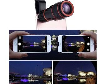 Universal 12X Zoom Mobile Phone Clip-on Retractable Telescope Camera Lens for iPhone 6S 6 plus Samsung S7 S6 edge Smartphones