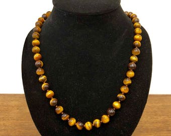 8mm Tiger Eye Necklace for Men and Women Beaded Necklace, Tigereye Necklace, Mens Jewelry, Mens Long Necklace, Gift for Men, Mens Tiger Eye