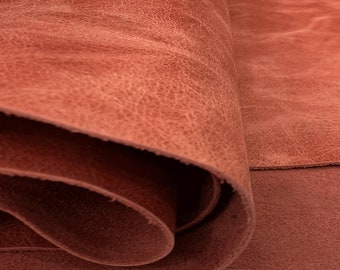 Available by Square foot! Wheat Harvest Leather Sides Stunning Pull Up Leather