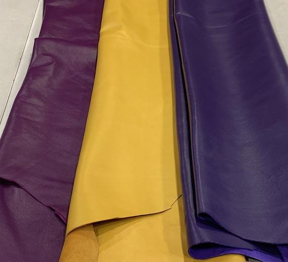 smooth pastel yellow patent hides size 27x31 inches slightly stiff skin    A6699-TU   La Garzarara Italian leather thickness 0.80.9 mm