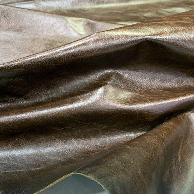Leather Hide Calf Skin Dark  Brown  Pull up Leather Cowhide leather