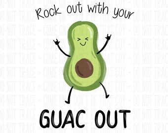 53801d76 Rock Out with your Guac Out - Funny Avocado Design   Sublimation Print    Printable   Sublimation Design   PNG   JPG - 300DPI