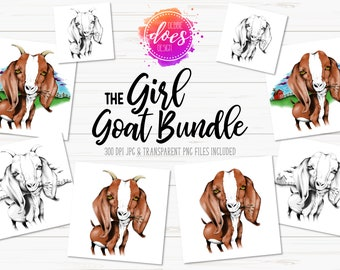 The Girl Goat Bundle - Hand Drawn Goat | Instant Download | Sublimation | Printable | PNG | JPG
