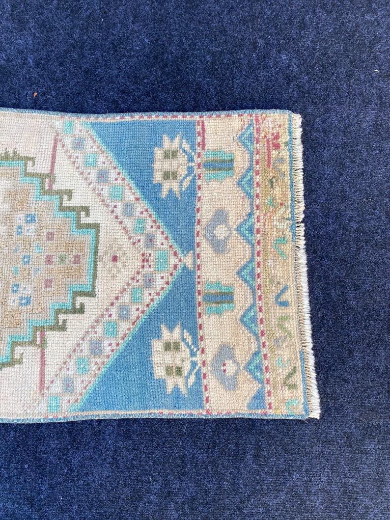 Small Rug Blue Green Wool 3.18x1.60 Vintage Turk\u0131sh Rug Oushak Rug Handmade Vintage Turk\u0131sh Minis