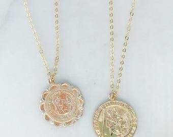 3b3ce0de9a8 St christopher necklace, Gold filled necklace, coin necklace, dainty  necklace, layering necklace, religious necklace, necklaces for women