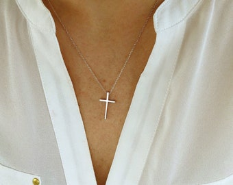 Silver cross necklace, cross necklace, religious necklace cross, religious gift, simple cross necklace, silver necklace, religious gifts wom