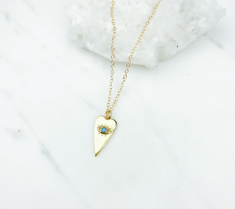 Gold Necklace necklaces for women Dainty Jewelry Dainty Necklace Evil Eye Necklace Heart Necklace Gift for her Birthday Gift