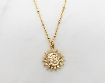 Sun necklace, Celestial jewelry, sun pendant necklace, gold necklace, moon necklace, birthday gifts for her, necklaces for women, gifts