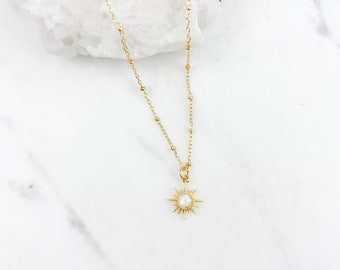 Opal star necklace, sun necklace, Celestial jewelry, gold necklace, dainty necklace, birthday gift for her, Mothers Day gift, sunshine