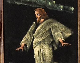 Vintage Velvet Painting of Jesus Walking on the Water From Mexico