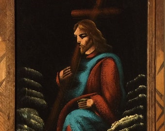 70s Velvet Painting of Jesus Parting the Waves