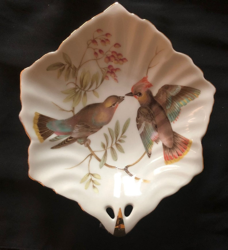 Vintage 1950s Mitterteich Bavaria Candy Serving Dish With Bird Motif Made In Germany Excellent Condition