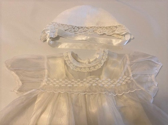 vintage '60s Christening gown with underdress & h… - image 4