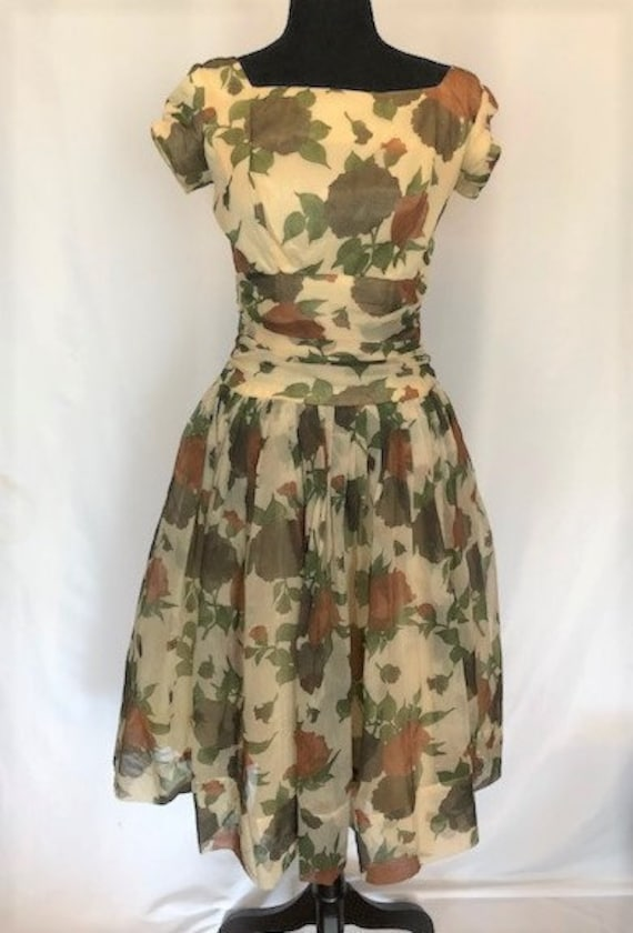 vintage '50s floral chiffon dress