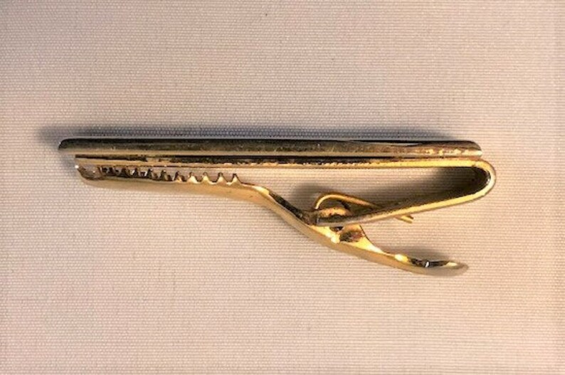 2 Long Vintage 1960s Gold Tie Clip With Red Jasper Stone Center