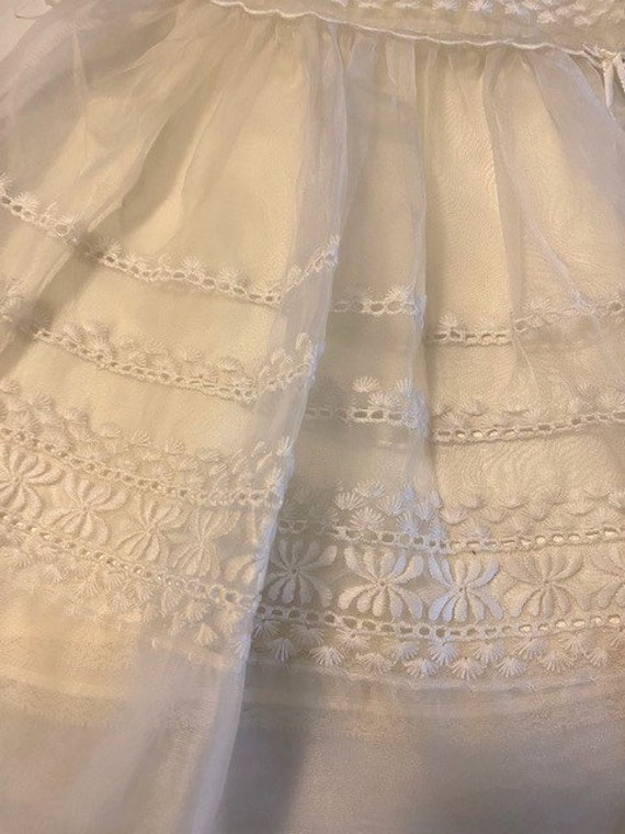 vintage '60s Christening gown with underdress & h… - image 3