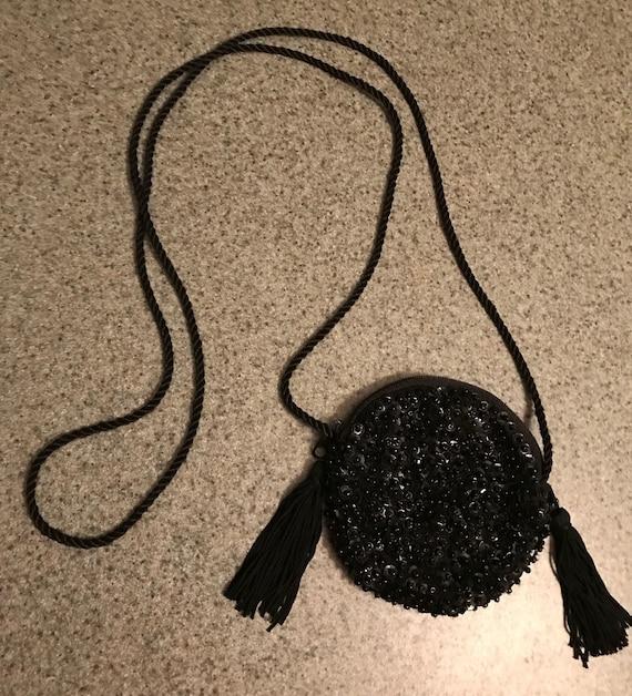 Vintage 1980s Round Sequined Tiny Handbag with Tas