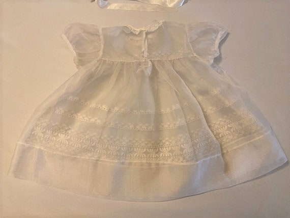 vintage '60s Christening gown with underdress & h… - image 8