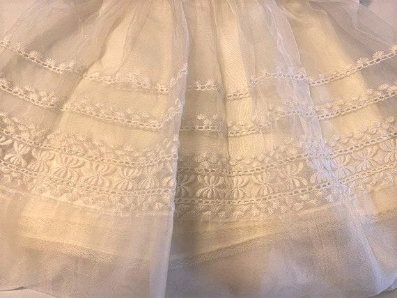 vintage '60s Christening gown with underdress & h… - image 9