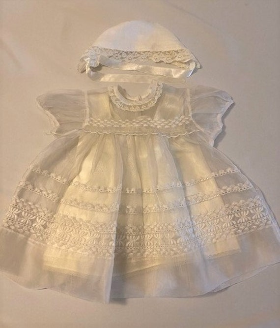 vintage '60s Christening gown with underdress & h… - image 1