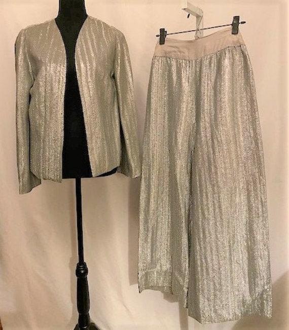 vintage '70s silver knit suit