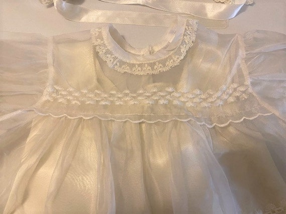 vintage '60s Christening gown with underdress & h… - image 7