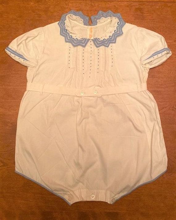 vintage '40s white & blue cotton romper